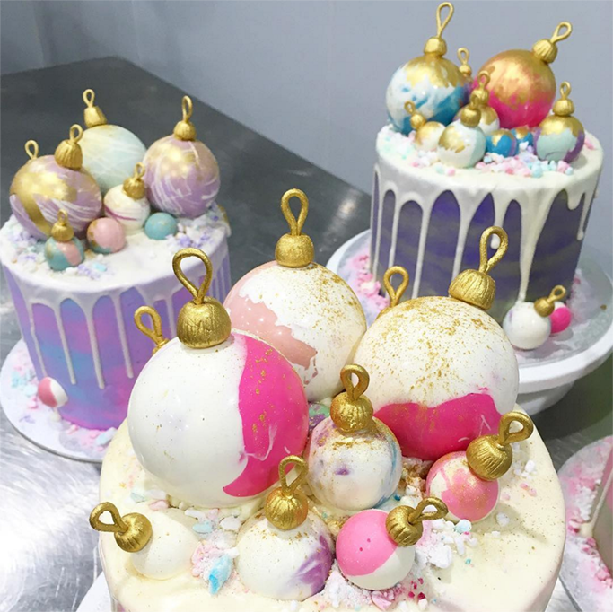 Sugar baubles on top of cake