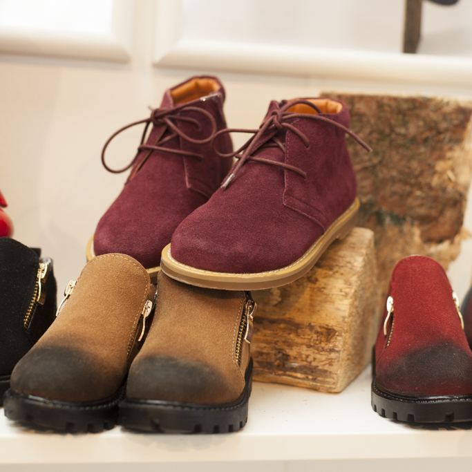 Burgundy shoes and tan dip dye shoes by Little Zed London